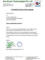 SUN ENV Baroda Dairy Perfomance Certificate-1